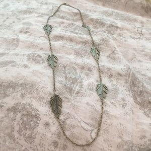 Bronzed feather necklace
